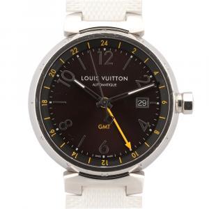 Louis Vuitton Brown Stainless Steel Tanbour Q1155 Women's Wristwatch 34 MM
