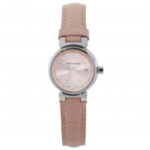 """ساعة يد نسائية لوي فيتون """"تامبور كيو121اكس"""" جلد تمساح و ستانلس ستيل وردية 28 مم"""