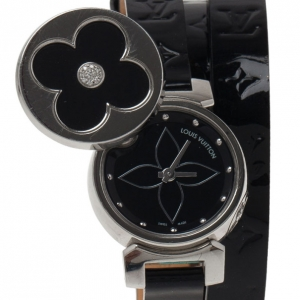 Louis Vuitton Black Stainless Steel Tambour Bijou Secret Women's Wristwatch 22MM