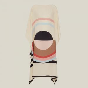 Louisa Parris Cream Emilie Graphic Print Silk Kaftan Size OS
