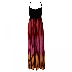 M Missoni Multicolor Striped Knit Back Cutout Tie Detail Sleeveless Dress L