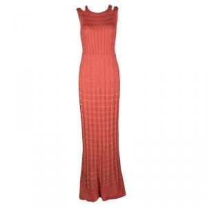 M Missoni Pink Perforated Knit Sleeveless Maxi Dress M