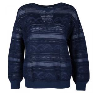 M Missoni Navy Blue Ribbed Trim Detail Sweater S