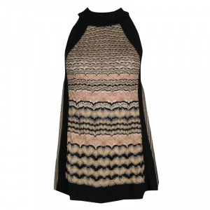 M Missoni Multicolor Textured Lurex Knit Sleeveless High Neck Top M
