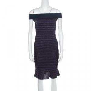 M Missoni Multicolor Lurex Patterned Knit Off Shoulder Fit and Flare Dress S