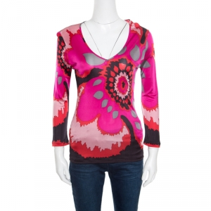 M Missoni Pink Graphic Floral Printed Knit Long Sleeve Top M