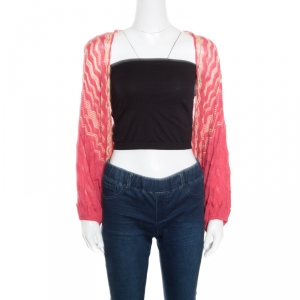 M Missoni Red and Yellow Chevron Patterned Knit Open Front Bolero M