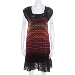 M Missoni Multicolor Fish Scale Patterned Knit Flounce Dress S