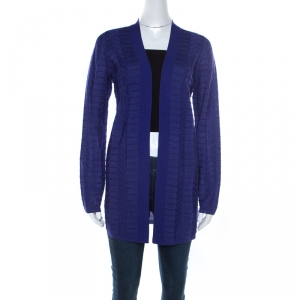 M Missoni Royal Blue Chevron Paneled Wool Knit Cardigan M
