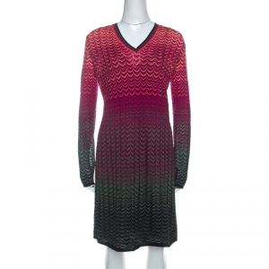 M Missoni Multicolor Ombre Pattern Knit V Neck Dress M