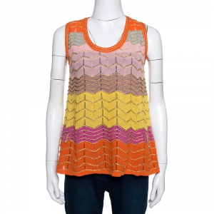 M Missoni Multicolor Striped Lurex Knit Sleeveless A Line Top S