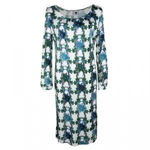 M Missoni White Floral Printed Knit Long Sleeve Dress XL