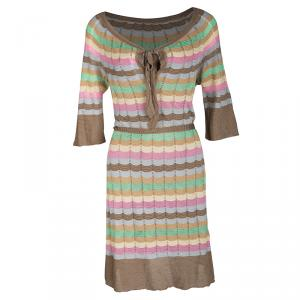 M Missoni Multicolor Perforated Striped Knit Neck Tie Detail Belted Dress L