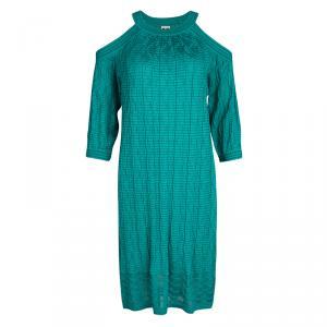 M Missoni Blue Perforated Wave Pattern Knit Cold Shoulder Dress M