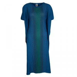 M Missoni Blue Patterned Rib Knit Maxi Dress L
