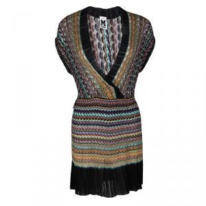 M Missoni Multicolor Perforated Knit Contrast Rib Trim Dress L