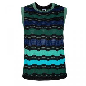 M Missoni Multicolor Wool Blend Lurex Knit Sleeveless Top S