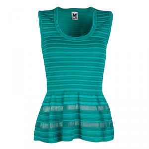 M Missoni Teal Blue Striped Knit Mesh Insert Sleeveless Peplum Top S