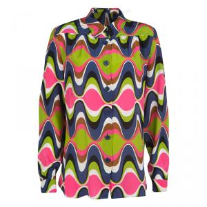M Missoni Multicolor Wave Printed Silk Long Sleeve Button Front Shirt L