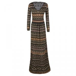 M Missoni Multicolor Perforated Lurex Knit Long Sleeve Maxi Dress S