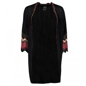 M Missoni Black Wool Contrast Trim Open Front Cardigan S