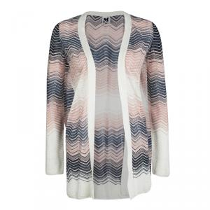 M Missoni Multicolor Perforated Wave Pattern Knit Open Front Cardigan S