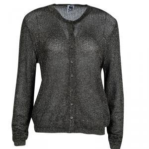 M Missoni Metallic Black Perforated Lurex Knit Button Front Cardigan L