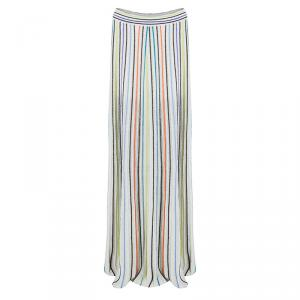 M Missoni Multicolor Vertical Striped Lurex Knit Maxi Skirt L