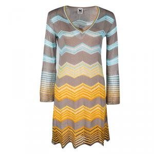 M Missoni Multicolor Perforated Knit Long Sleeve Dress S