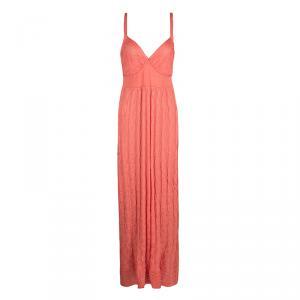 M Missoni Orange Patterned Knit Sleeveless Maxi Dress M