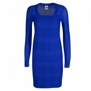 M Missoni Blue Knit Long Sleeve Dress S