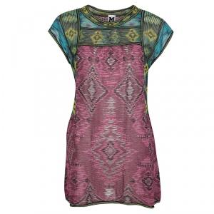 M Missoni Colorblock Diamond Pattern Jacquard Rib Knit Tunic M
