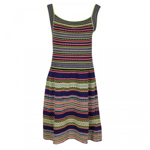 M Missoni Multicolor Textured Striped Knit Sleeveless Dress M