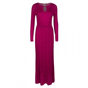 M Missoni Pink Patterned Knit Long Sleeve Maxi Dress M
