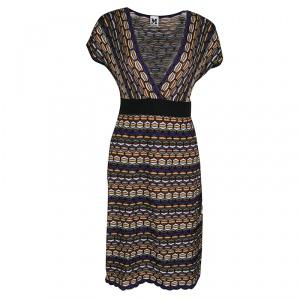 M Missoni Multicolor Patterned Knit Plunge Neck Dress M