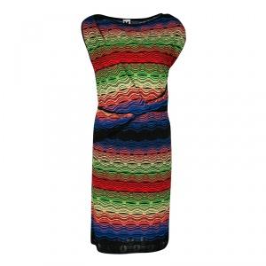 M Missoni Multicolor Patterned Knit Twist Front Detail Dress M