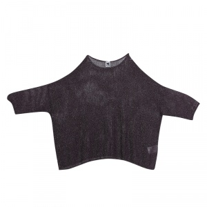 M Missoni Deep Purple Lurex Rib Knit Oversized Top M