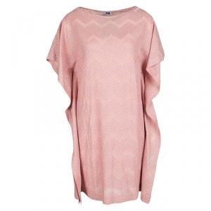 M Missoni Pink Lurex Knit Chevron Pattern Kaftan Tunic M