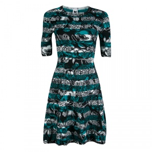 M Missoni Floral Printed and Striped Knit Fit and Flare Dress S