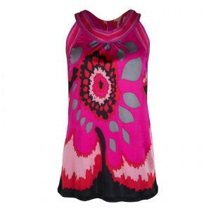M Missoni Pink Graphic Floral Print Sleeveless Top M