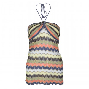 M Missoni Multicolor Patterned Perforated Knit Rope Tie Detail Halter Top S