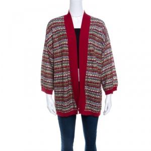 M Missoni Multicolor Knit Contrast Rib Trim Open Front Cardigan L