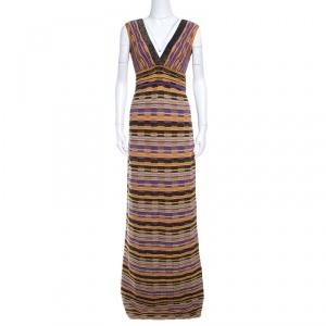M Missoni Multicolor Lurex Patterned Knit Plunge Neck Maxi Dress M