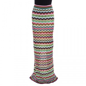 M Missoni Multicolor Wave Pattern Perforated Knit Maxi Skirt M