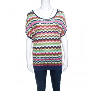 M Missoni Multicolor Wave Pattern Perforated Knit Top M