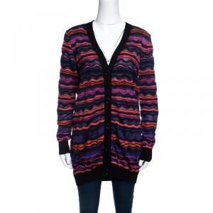 M Missoni Multicolor Wave Pattern Lurex Knit Cardigan L