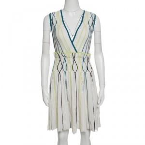 M Missoni White Rib Knit Contrast Piping Detail Sleeveless Pleated Dress M