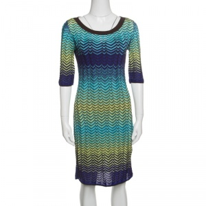 M Missoni Multicolor Wave Pattern Knit Short Sleeves Dress M
