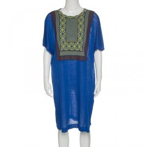 M Missoni Blue Knit Contrast Geometric Pattern Bodice Detail Short Sleeve Dress S