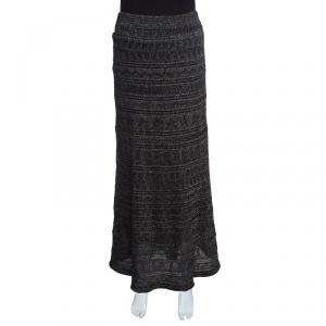 M Missoni Black Lurex Jacquard Knit Patterned Maxi Skirt M